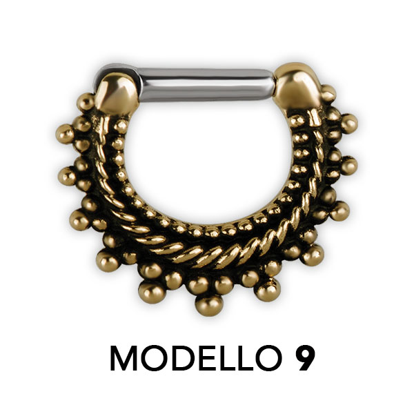 TRIBAL BRASS SEPTUM CLICKERS MODELLO 9