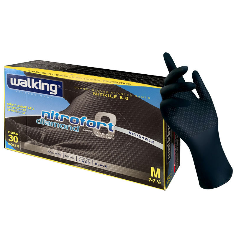 Black Nitrile Gloves With Diamond Grip